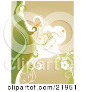 Clipart Picture Illustration Of White Green And Brown Waves With Orange And White Flowers Over A Brown Background by OnFocusMedia