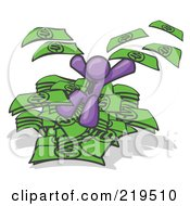 Clipart Illustration Of A Purple Business Man Jumping In A Pile Of Money And Throwing Cash Into The Air