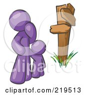 Uncertain Purple Man And Child Standing At A Wooden Post Trying To Decide Which Direction To Go At A Crossroads