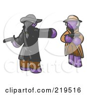 Clipart Illustration Of A Purple Man Challenging Another Purple Man To A Duel With Pistils