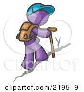 Royalty Free RF Clipart Illustration Of A Purple Man Backpacking And Hiking Uphill by Leo Blanchette
