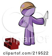 Royalty Free RF Clipart Illustration Of A Purple Man Brick Layer Holding A Trowel by Leo Blanchette
