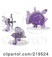 Clipart Illustration Of Two Purple Men Working Together To Conquer An Obstacle A Dragon by Leo Blanchette
