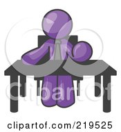 Purple Businessman Seated At A Desk Instructing Employees by Leo Blanchette