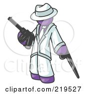 Purple Gangster Man Carrying A Gun And Leaning On A Cane by Leo Blanchette