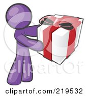 Thoughtful Purple Man Holding A Christmas Birthday Valentines Day Or Anniversary Gift Wrapped In White Paper With Red Ribbon And A Bow by Leo Blanchette