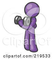 Royalty Free RF Clipart Illustration Of A Purple Design Mascot Doing Bicep Curls by Leo Blanchette