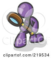 Clipart Illustration Of A Purple Man Bending Over To Inspect Something Through A Magnifying Glass