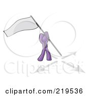Purple Man Claiming Territory Or Capturing The Flag by Leo Blanchette