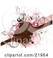 Clipart Picture Illustration Of A Brown Worn Text Space With A Bar And Brown And Pink Vines And Circles On A Pink And White Background