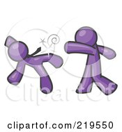 Royalty Free RF Clipart Illustration Of A Purple Man Being Punched By Another by Leo Blanchette