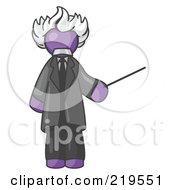 Purple Man Depicted As Albert Einstein Holding A Pointer Stick