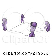 Royalty Free RF Clipart Illustration Of A Wireless Telephone Network Of Purple Men Talking On Cell Phones