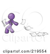 Purple Man Dropping White Sheets Of Paper On A Ground And Leaving A Paper Trail Symbolizing Waste by Leo Blanchette