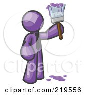 Royalty Free RF Clipart Illustration Of A Purple Man Painter Holding A Dripping Paint Brush by Leo Blanchette
