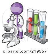 Royalty Free RF Clipart Illustration Of A Purple Man Scientist Using A Microscope By Vials by Leo Blanchette