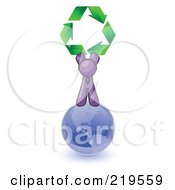 Purple Man Standing On Top Of The Blue Planet Earth And Holding Up Three Green Arrows Forming A Triangle And Moving In A Clockwise Motion Symbolizing Renewable Energy And Recycling