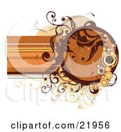 Clipart Picture Illustration Of An Orange Circular Text Space With Brown And Orange Circles And Vines On A White Background