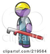 Royalty Free RF Clipart Illustration Of A Purple Man Design Mascot With A Red Pipe Wrench by Leo Blanchette