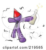 Clipart Illustration Of A Happy Purple Man Partying With A Party Hat Confetti And A Bottle Of Liquor