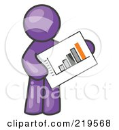 Purple Man Holding A Bar Graph Displaying An Increase In Profit by Leo Blanchette