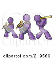 Three Purple Men Playing Flutes And Drums At A Music Concert by Leo Blanchette