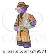 Clipart Illustration Of A Secretive Purple Man In A Trench Coat And Hat Carrying A Box With A Question Mark On It