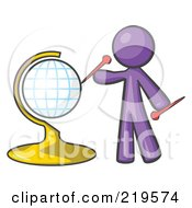 Royalty Free RF Clipart Illustration Of A Purple Man Inserting Pins On A Globe by Leo Blanchette