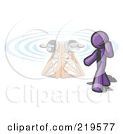 Clipart Illustration Of A Purple Businessman Talking On A Cell Phone A Communications Tower In The Background