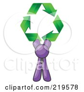 Purple Man Holding Up Three Green Arrows Forming A Triangle And Moving In A Clockwise Motion Symbolizing Renewable Energy And Recycling