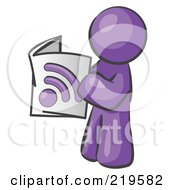 Purple Man Standing And Reading An RSS Magazine by Leo Blanchette
