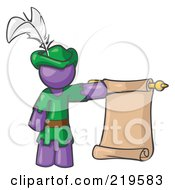 Royalty Free RF Clipart Illustration Of A Purple Man Dressed As Robin Hood With A Feather In His Hat Holding A Blank Scroll And Acting As A Pageboy