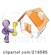 Purple Businessman Holding A Skeleton Key And Standing In Front Of A House With A Coin Slot And Keyhole by Leo Blanchette