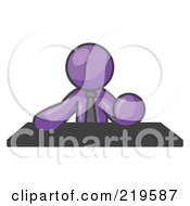 Purple Businessman Seated At A Desk During A Meeting by Leo Blanchette