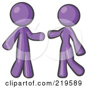 Royalty Free RF Clipart Illustration Of A Purple Man And Woman Preparing To Embrace by Leo Blanchette