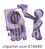 Poster, Art Print Of Purple Businessman Putting A Dollar Sign Puzzle Together