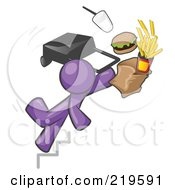 Royalty Free RF Clipart Illustration Of A Purple Man Tripping On Stairs With Fast Food And A Rolling Briefcase Flying