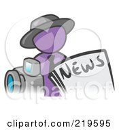 Purple Man Wearing A Hat Posed In Front Of The News And A Camera