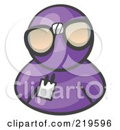 Royalty Free RF Clipart Illustration Of A Purple Man Wearing Large Nerdy Glasses by Leo Blanchette