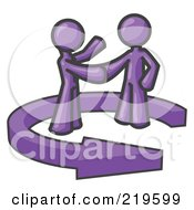 Purple Salesman Shaking Hands With A Client While Making A Deal