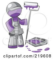 Royalty Free RF Clipart Illustration Of A Purple Man Painter With A Paint Pan And Roller by Leo Blanchette