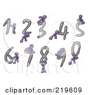 Clipart Illustration Of Purple Men With Numbers 0 Through 9