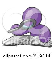 Clipart Illustration Of A Purple Man Using A Magnifying Glass To Examine The Facts In The Daily Newspaper