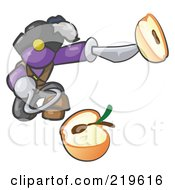 Royalty Free RF Clipart Illustration Of A Purple Man Pirate With A Hook Hand Holding A Sliced Apple On A Sword by Leo Blanchette