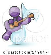 Purple Man Sitting On A Music Note And Playing A Guitar by Leo Blanchette