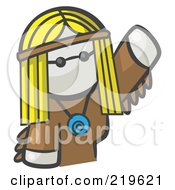 Royalty Free RF Clipart Illustration Of A White Woman Avatar Hippie Waving