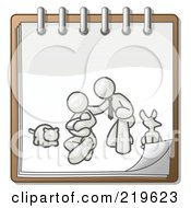 Royalty Free RF Clipart Illustration Of A White Family Showing A Man Kneeling Beside His Wife And Newborn Baby With Their Dog And Cat On A Notebook Symbolizing Family Planning