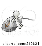 Royalty Free RF Clipart Illustration Of A White Man Leaning Against A Computer Mouse by Leo Blanchette