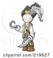 Royalty Free RF Clipart Illustration Of A White Man Pirate With A Hook Hand And A Sword by Leo Blanchette