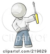 Royalty Free RF Clipart Illustration Of A White Man Electrician Holding A Screwdriver